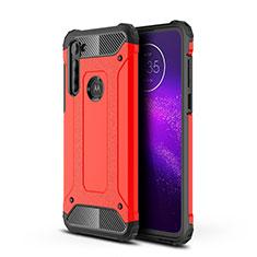 Silikon Hülle Handyhülle und Kunststoff Schutzhülle Hartschalen Tasche für Motorola Moto G8 Power Rot