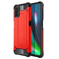 Silikon Hülle Handyhülle und Kunststoff Schutzhülle Hartschalen Tasche für Motorola Moto G9 Plus Rot