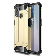 Silikon Hülle Handyhülle und Kunststoff Schutzhülle Hartschalen Tasche für OnePlus Nord N100 Gold