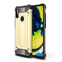 Silikon Hülle Handyhülle und Kunststoff Schutzhülle Hartschalen Tasche für Samsung Galaxy A11 Gold