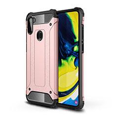Silikon Hülle Handyhülle und Kunststoff Schutzhülle Hartschalen Tasche für Samsung Galaxy A11 Rosegold