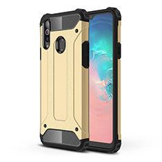 Silikon Hülle Handyhülle und Kunststoff Schutzhülle Hartschalen Tasche für Samsung Galaxy A20s Gold