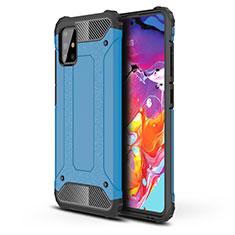 Silikon Hülle Handyhülle und Kunststoff Schutzhülle Hartschalen Tasche für Samsung Galaxy A51 4G Hellblau