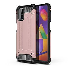 Silikon Hülle Handyhülle und Kunststoff Schutzhülle Hartschalen Tasche für Samsung Galaxy M31s Rosegold