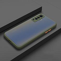 Silikon Hülle Handyhülle und Kunststoff Schutzhülle Hartschalen Tasche für Vivo X50 5G Cyan