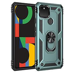 Silikon Hülle Handyhülle und Kunststoff Schutzhülle Hartschalen Tasche mit Magnetisch Fingerring Ständer für Google Pixel 5 Minzgrün