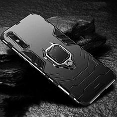 Silikon Hülle Handyhülle und Kunststoff Schutzhülle Hartschalen Tasche mit Magnetisch Fingerring Ständer für Huawei Enjoy 10e Schwarz