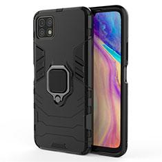 Silikon Hülle Handyhülle und Kunststoff Schutzhülle Hartschalen Tasche mit Magnetisch Fingerring Ständer für Huawei Enjoy 20 5G Schwarz