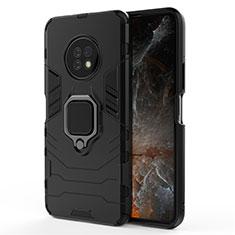Silikon Hülle Handyhülle und Kunststoff Schutzhülle Hartschalen Tasche mit Magnetisch Fingerring Ständer für Huawei Enjoy 20 Plus 5G Schwarz