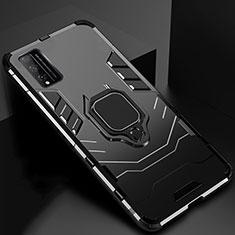 Silikon Hülle Handyhülle und Kunststoff Schutzhülle Hartschalen Tasche mit Magnetisch Fingerring Ständer für Huawei Honor Play4T Pro Schwarz