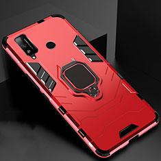 Silikon Hülle Handyhülle und Kunststoff Schutzhülle Hartschalen Tasche mit Magnetisch Fingerring Ständer für Huawei Honor Play4T Rot