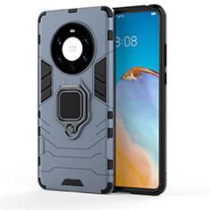 Silikon Hülle Handyhülle und Kunststoff Schutzhülle Hartschalen Tasche mit Magnetisch Fingerring Ständer für Huawei Mate 40 Pro+ Plus Blau