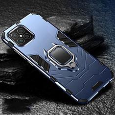 Silikon Hülle Handyhülle und Kunststoff Schutzhülle Hartschalen Tasche mit Magnetisch Fingerring Ständer für Huawei Nova 8 SE 5G Blau
