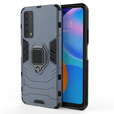 Silikon Hülle Handyhülle und Kunststoff Schutzhülle Hartschalen Tasche mit Magnetisch Fingerring Ständer für Huawei Y7a Blau