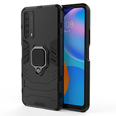 Silikon Hülle Handyhülle und Kunststoff Schutzhülle Hartschalen Tasche mit Magnetisch Fingerring Ständer für Huawei Y7a Schwarz