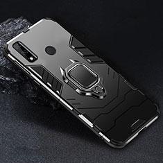 Silikon Hülle Handyhülle und Kunststoff Schutzhülle Hartschalen Tasche mit Magnetisch Fingerring Ständer für Huawei Y8s Schwarz