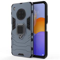 Silikon Hülle Handyhülle und Kunststoff Schutzhülle Hartschalen Tasche mit Magnetisch Fingerring Ständer für Huawei Y9a Blau
