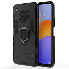 Silikon Hülle Handyhülle und Kunststoff Schutzhülle Hartschalen Tasche mit Magnetisch Fingerring Ständer für Huawei Y9a Schwarz