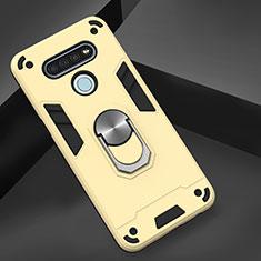 Silikon Hülle Handyhülle und Kunststoff Schutzhülle Hartschalen Tasche mit Magnetisch Fingerring Ständer für LG K51 Gold