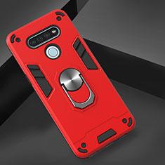 Silikon Hülle Handyhülle und Kunststoff Schutzhülle Hartschalen Tasche mit Magnetisch Fingerring Ständer für LG K51 Rot