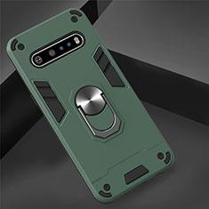 Silikon Hülle Handyhülle und Kunststoff Schutzhülle Hartschalen Tasche mit Magnetisch Fingerring Ständer für LG V60 ThinQ 5G Grün