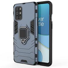 Silikon Hülle Handyhülle und Kunststoff Schutzhülle Hartschalen Tasche mit Magnetisch Fingerring Ständer für OnePlus 8T 5G Blau