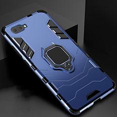 Silikon Hülle Handyhülle und Kunststoff Schutzhülle Hartschalen Tasche mit Magnetisch Fingerring Ständer für Oppo A12e Blau