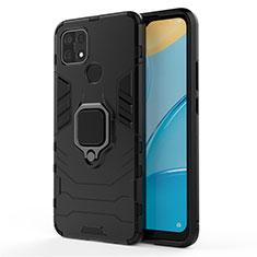 Silikon Hülle Handyhülle und Kunststoff Schutzhülle Hartschalen Tasche mit Magnetisch Fingerring Ständer für Oppo A15 Schwarz