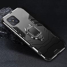 Silikon Hülle Handyhülle und Kunststoff Schutzhülle Hartschalen Tasche mit Magnetisch Fingerring Ständer für Oppo Reno4 Z 5G Schwarz