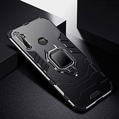 Silikon Hülle Handyhülle und Kunststoff Schutzhülle Hartschalen Tasche mit Magnetisch Fingerring Ständer für Realme 5 Pro Schwarz