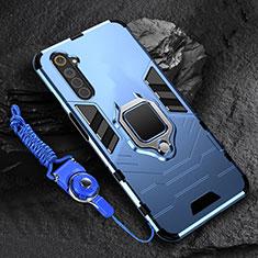 Silikon Hülle Handyhülle und Kunststoff Schutzhülle Hartschalen Tasche mit Magnetisch Fingerring Ständer für Realme 6 Blau