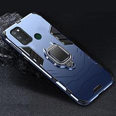 Silikon Hülle Handyhülle und Kunststoff Schutzhülle Hartschalen Tasche mit Magnetisch Fingerring Ständer für Realme 7i Blau