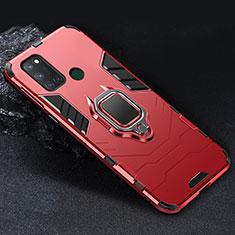 Silikon Hülle Handyhülle und Kunststoff Schutzhülle Hartschalen Tasche mit Magnetisch Fingerring Ständer für Realme C17 Rot