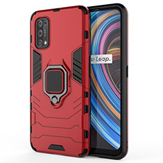 Silikon Hülle Handyhülle und Kunststoff Schutzhülle Hartschalen Tasche mit Magnetisch Fingerring Ständer für Realme Q2 Pro 5G Rot