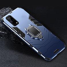 Silikon Hülle Handyhülle und Kunststoff Schutzhülle Hartschalen Tasche mit Magnetisch Fingerring Ständer für Realme V5 5G Blau