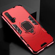 Silikon Hülle Handyhülle und Kunststoff Schutzhülle Hartschalen Tasche mit Magnetisch Fingerring Ständer für Realme X3 Rot