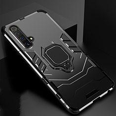 Silikon Hülle Handyhülle und Kunststoff Schutzhülle Hartschalen Tasche mit Magnetisch Fingerring Ständer für Realme X3 Schwarz