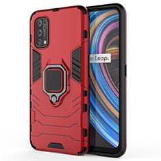 Silikon Hülle Handyhülle und Kunststoff Schutzhülle Hartschalen Tasche mit Magnetisch Fingerring Ständer für Realme X7 Pro 5G Rot