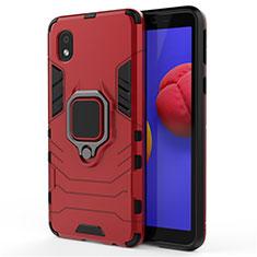 Silikon Hülle Handyhülle und Kunststoff Schutzhülle Hartschalen Tasche mit Magnetisch Fingerring Ständer für Samsung Galaxy A01 Core Rot