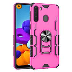 Silikon Hülle Handyhülle und Kunststoff Schutzhülle Hartschalen Tasche mit Magnetisch Fingerring Ständer für Samsung Galaxy A21 Pink