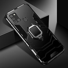 Silikon Hülle Handyhülle und Kunststoff Schutzhülle Hartschalen Tasche mit Magnetisch Fingerring Ständer für Samsung Galaxy A21s Schwarz