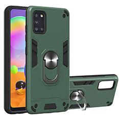Silikon Hülle Handyhülle und Kunststoff Schutzhülle Hartschalen Tasche mit Magnetisch Fingerring Ständer für Samsung Galaxy A31 Grün