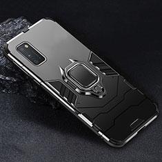Silikon Hülle Handyhülle und Kunststoff Schutzhülle Hartschalen Tasche mit Magnetisch Fingerring Ständer für Samsung Galaxy A41 Schwarz