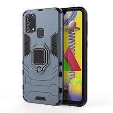 Silikon Hülle Handyhülle und Kunststoff Schutzhülle Hartschalen Tasche mit Magnetisch Fingerring Ständer für Samsung Galaxy M21s Blau