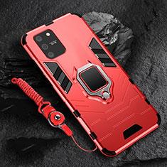 Silikon Hülle Handyhülle und Kunststoff Schutzhülle Hartschalen Tasche mit Magnetisch Fingerring Ständer für Samsung Galaxy S10 Lite Rot