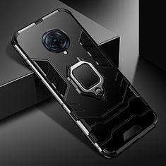 Silikon Hülle Handyhülle und Kunststoff Schutzhülle Hartschalen Tasche mit Magnetisch Fingerring Ständer für Vivo Nex 3 Schwarz