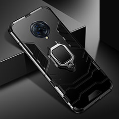 Silikon Hülle Handyhülle und Kunststoff Schutzhülle Hartschalen Tasche mit Magnetisch Fingerring Ständer für Vivo Nex 3S Schwarz