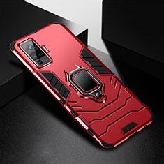 Silikon Hülle Handyhülle und Kunststoff Schutzhülle Hartschalen Tasche mit Magnetisch Fingerring Ständer für Vivo X50 Pro 5G Rot