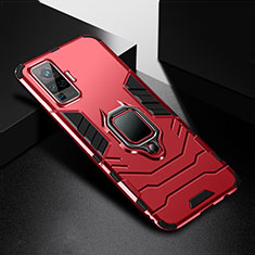Silikon Hülle Handyhülle und Kunststoff Schutzhülle Hartschalen Tasche mit Magnetisch Fingerring Ständer für Vivo X51 5G Rot