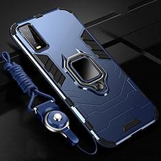 Silikon Hülle Handyhülle und Kunststoff Schutzhülle Hartschalen Tasche mit Magnetisch Fingerring Ständer für Vivo Y12s Blau